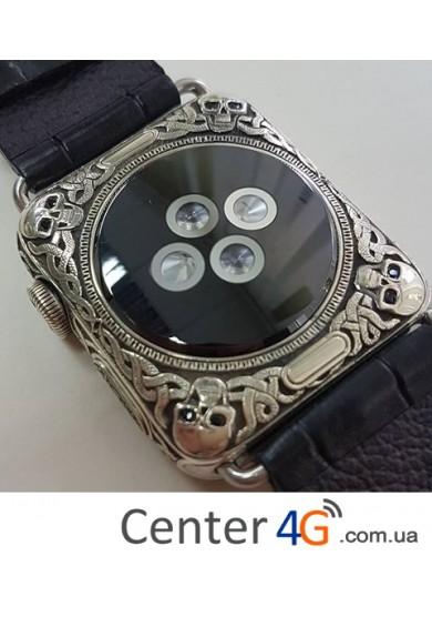 Купить Apple Watch series 2 золото 18k, гравировка череп